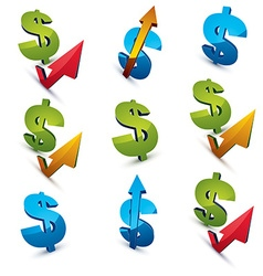 Set of 3d green dollar signs with different arrows vector image