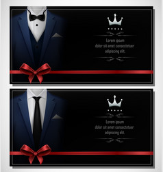 Set of blue tuxedo business card templates and pl vector