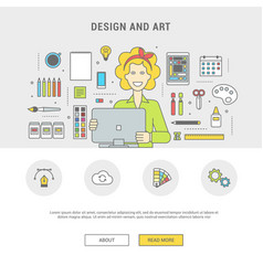 set of icons for designer girl and vector image