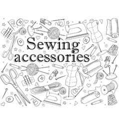 Sewing accessories coloring book vector image