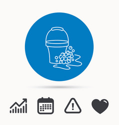 soapy cleaning icon bucket with foam and bubble vector image