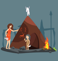 stone age cartoon neolithic vector image