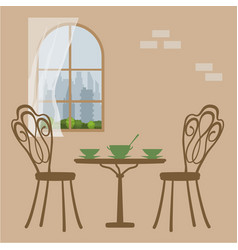 Table in restaurant for lunch vector