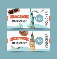 Tourism voucher design with bag plane clock tower vector