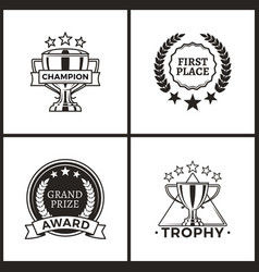 trophy and awards collection vector image