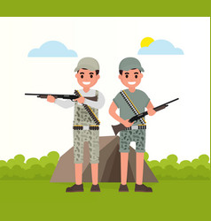 Two happy hunters stand with weapons vector