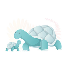 two walking turtle animals mom and baby cartoons vector image
