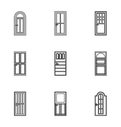 Types of doors icons set outline style vector image