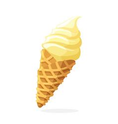vanilla ice cream cone in a waffle horn vector image