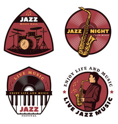 Vintage colored live jazz music emblems vector