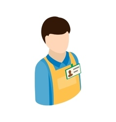Warehouse worker icon isometric 3d style vector