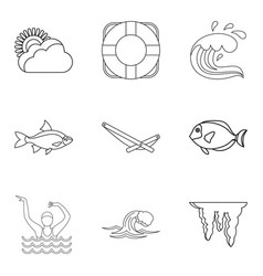 Water explorer icons set outline style vector