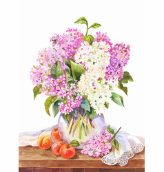 Watercolor still life with bouquet lilac and vector
