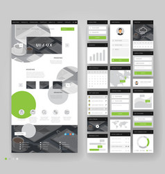 Website template design with interface elements vector