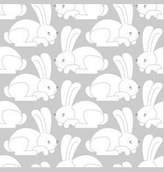 white rabbit seamless pattern hare ornament bunny vector image