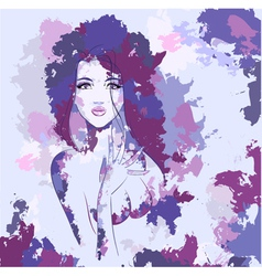 Woman aquarel face vector image