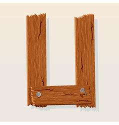 Wooden letter u vector
