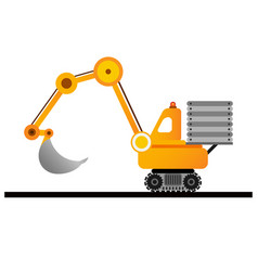 yellow excavator on white background mining vector image