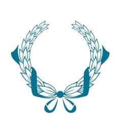 Blue color foliate circular wreath vector image
