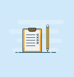 checklist with pencil flat design vector image
