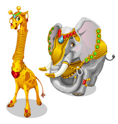 Giraffe and elephant decorated precious jewelry vector