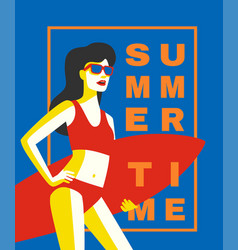 girl with surffing board vector image