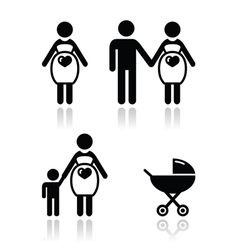 Pregnant woman icons set vector image vector image