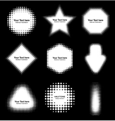 Set of abstract white halftone design elements vector