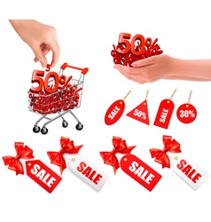 set of hands with sale and tags vector image vector image