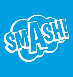 Smash comic book bubble text icon white vector