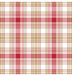 Beige red white check fabric texture seamless vector image