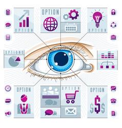 infographics template human eye looking eye vector image