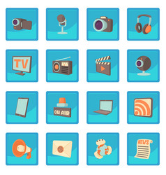 media communications icon blue app vector image
