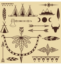 Set of american indians objects vector image vector image