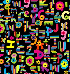 Alphabet set and numbers seamless background vector image vector image
