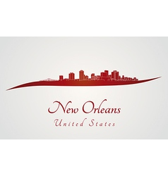New Orleans skyline in red vector image vector image