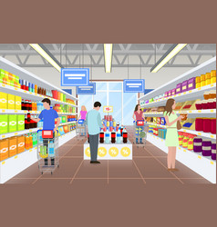 people at the supermarket on vector image