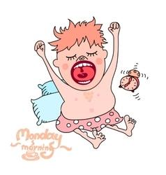 Yawning man Monday morning concept vector image vector image