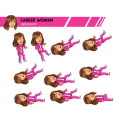 Dying career woman game sprite vector