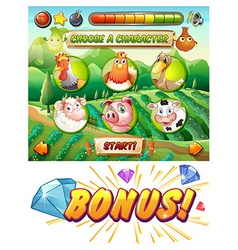 Game template with animals in the farm vector image