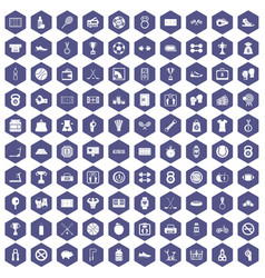 100 basketball icons hexagon purple vector