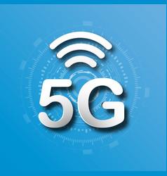 5g cellular mobile communication blue logo vector