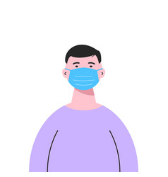 a white man wearing a medical mask isolated on vector image