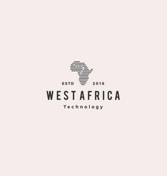 africa tech digital logo hipster vintage retro vector image