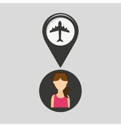 Airport pointer map girl design icon vector