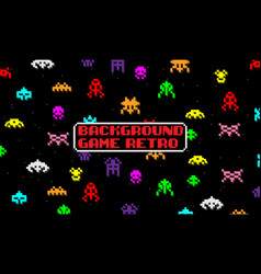 background game with space aliens in retro style vector image