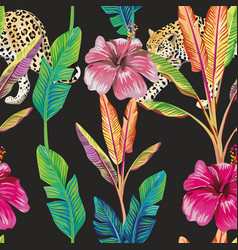 banana leaves hibiscus leopard seamless pattern vector image