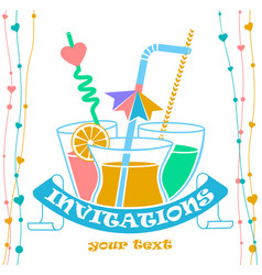 banner cocktail invitation vector image