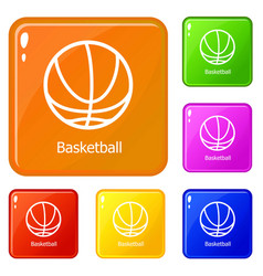 basketball icons set color vector image