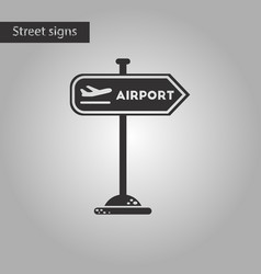 black and white style icon airport sign vector image